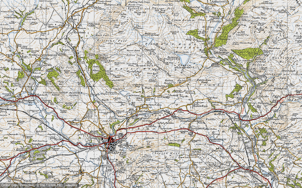 Old Map of Historic Map covering Barden Moor in 1947