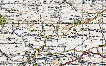 Old map of Barden Moor in 1947
