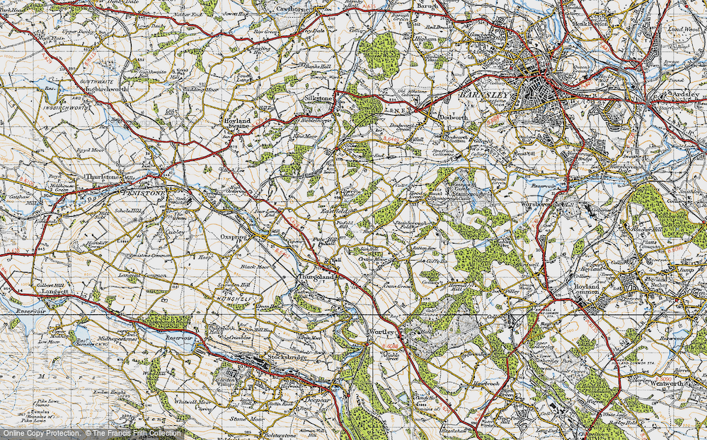 Old Map of Historic Map covering Bagger Wood in 1947
