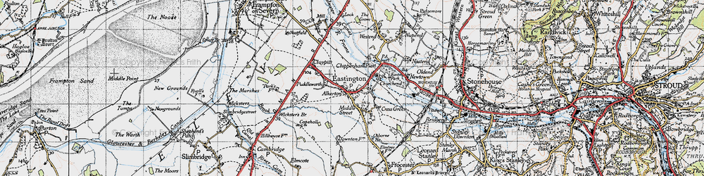 Old map of Eastington in 1946