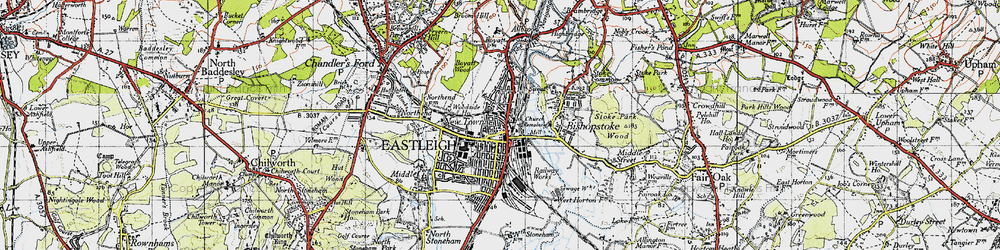 Old map of Eastleigh in 1945