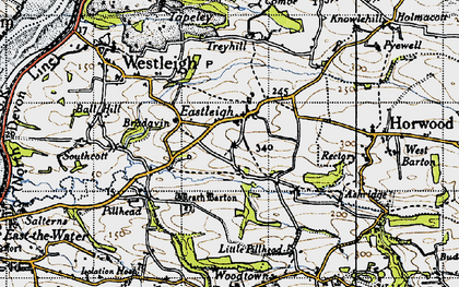 Old map of Ball Hill in 1946