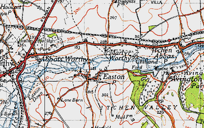 Old map of Worthy Park Ho (Sch) in 1945
