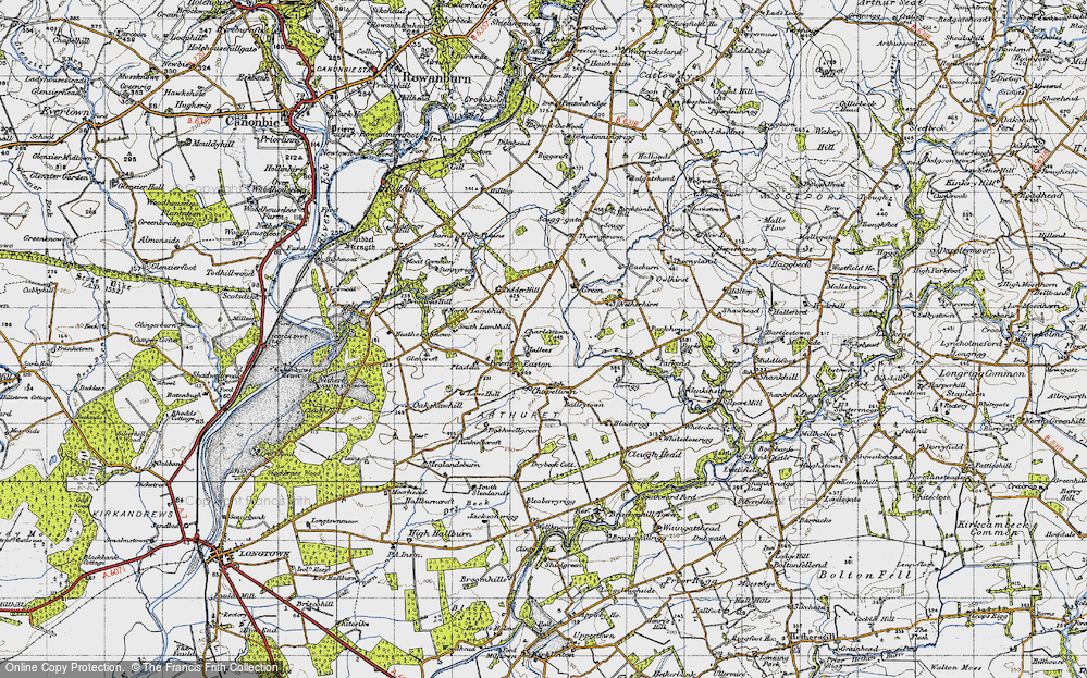 Old Map of Historic Map covering Baileytown in 1947