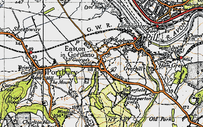 Old map of Easton-in-Gordano in 1946