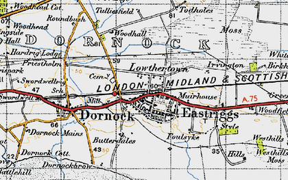 Old map of Westhills Moss in 1947
