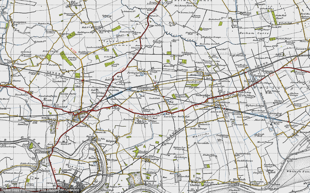 Old Map of Historic Map covering Balkholme Common in 1947
