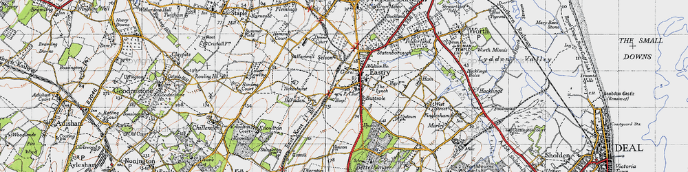 Old map of Eastry in 1947