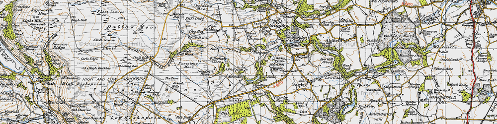 Old map of Yaudhouse Head in 1947