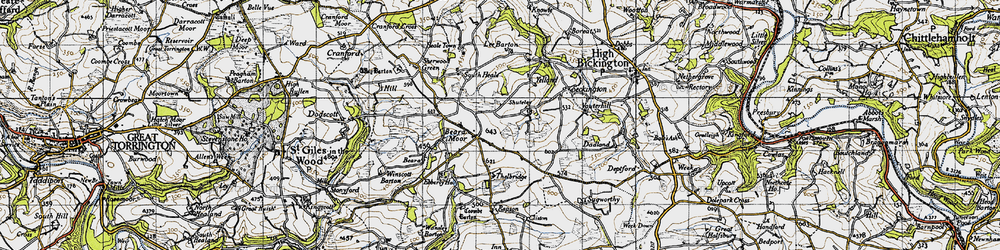 Old map of Withy Cross in 1946
