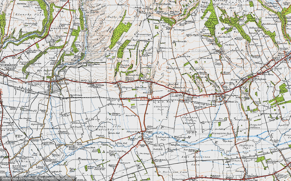 Old Map of Historic Map covering Allerston Partings in 1947