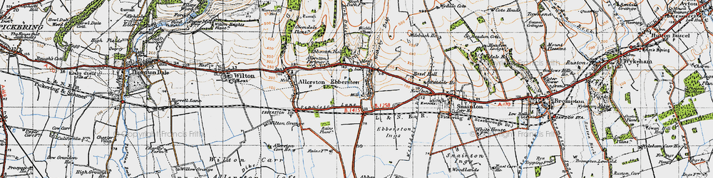 Old map of Allerston Partings in 1947