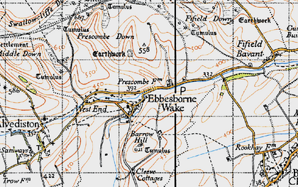 Old map of Ebbesbourne Wake in 1940