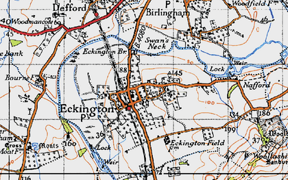 Old map of Eckington in 1946