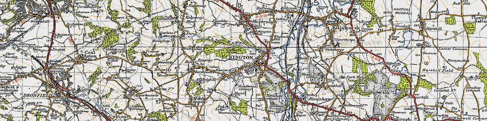 Old map of Eckington in 1947