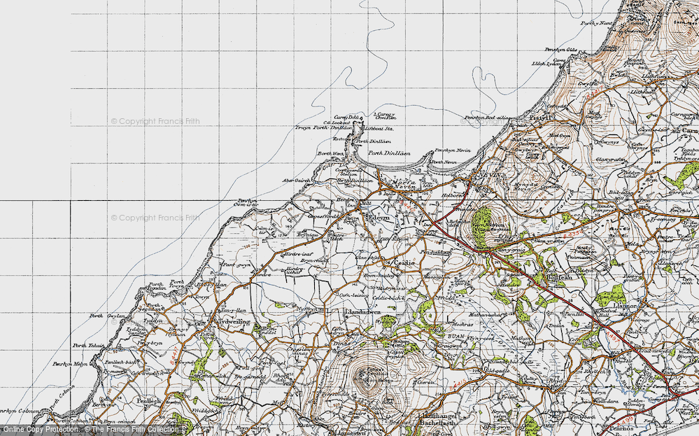 Old Map of Historic Map covering Aber Geirch in 1947