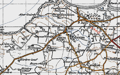 Old map of Aber Geirch in 1947