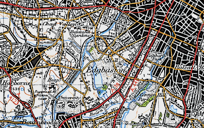 Old map of Edgbaston in 1947