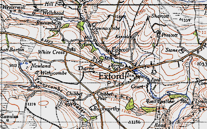 Old map of Allcombe Water in 1946