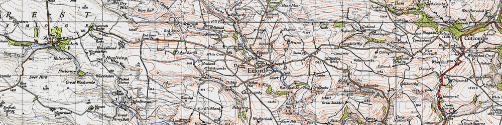 Old map of Almsworthy Common in 1946