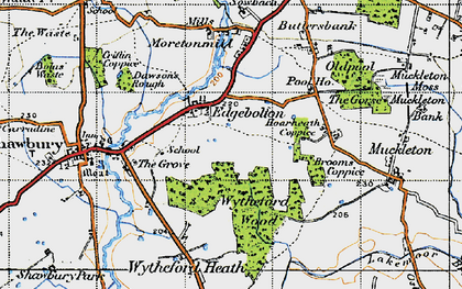 Old map of Wytheford Wood in 1947
