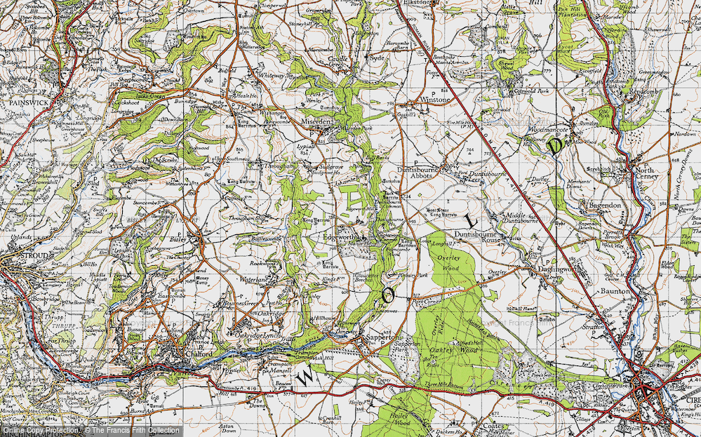 Old Map of Historic Map covering Ashcombe Bottom in 1946