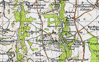 Old map of Ashcombe Bottom in 1946