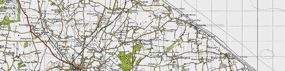Old map of Witton Hall in 1945