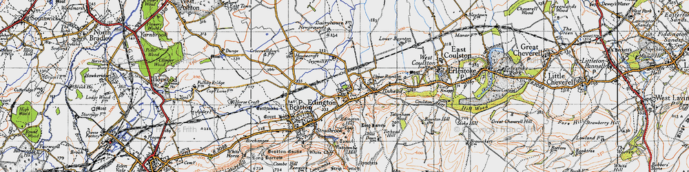 Old map of Edington in 1940