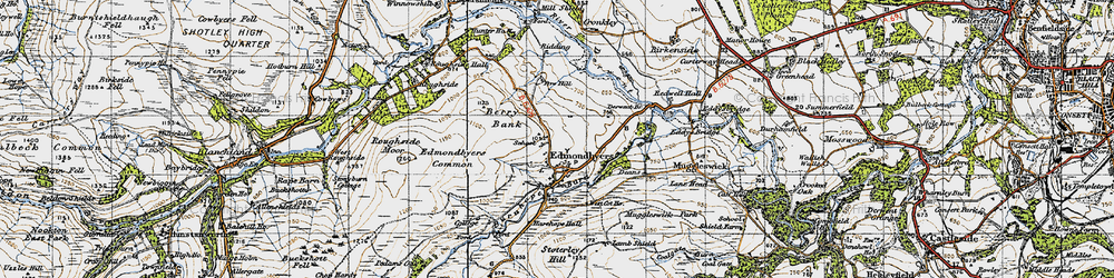 Old map of Edmondbyers in 1947