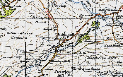 Old map of Edmundbyers in 1947