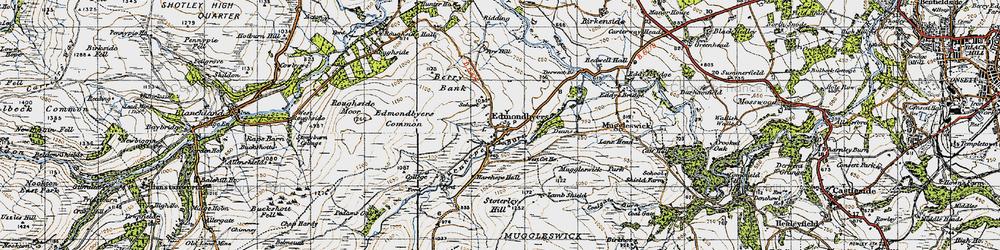 Old map of Edmundbyers in 1947