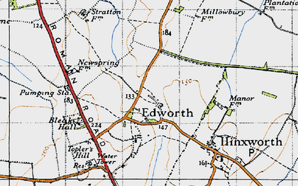Old map of Edworth in 1946