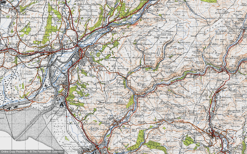 Old Map of Historic Map covering Baradychwallt in 1947