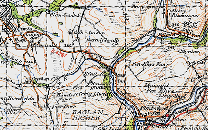 Old map of Baradychwallt in 1947