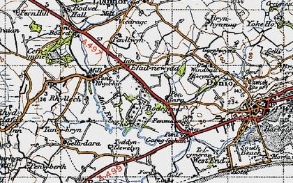 Old map of Afon Rhyd-hir in 1947