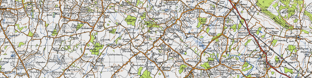 Old map of Egerton in 1940