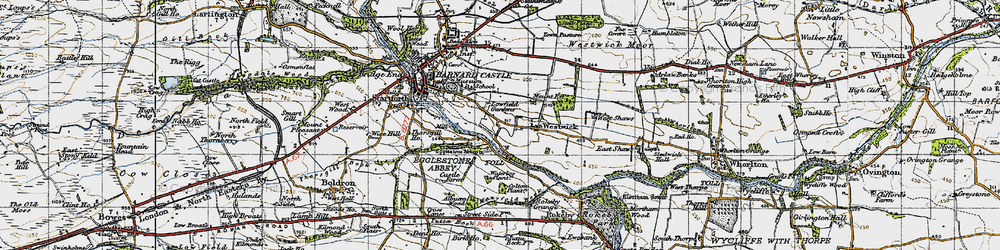 Old map of Egglestone Abbey in 1947