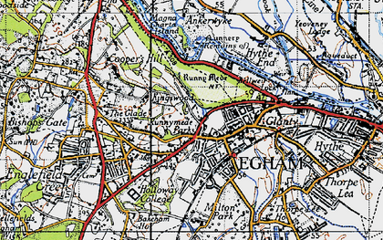 Old map of Egham in 1940