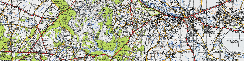 Old map of Wick Pond in 1940