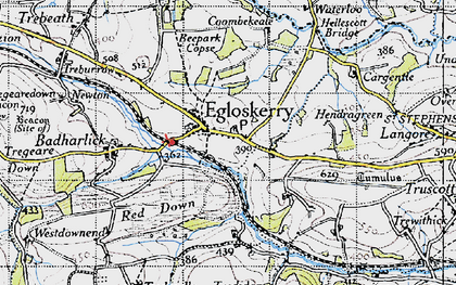 Old map of Egloskerry in 1946