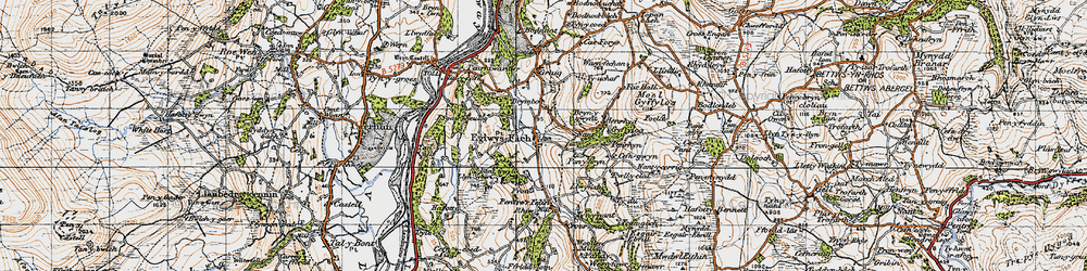 Old map of Eglwysbach in 1947