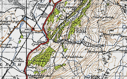 Old map of Afon Eisingrug in 1947