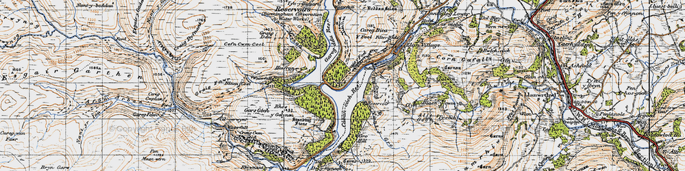 Old map of Elan Valley in 1947