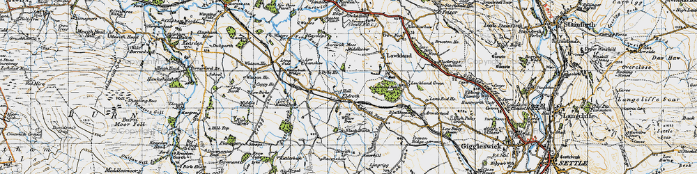 Old map of Wham in 1947
