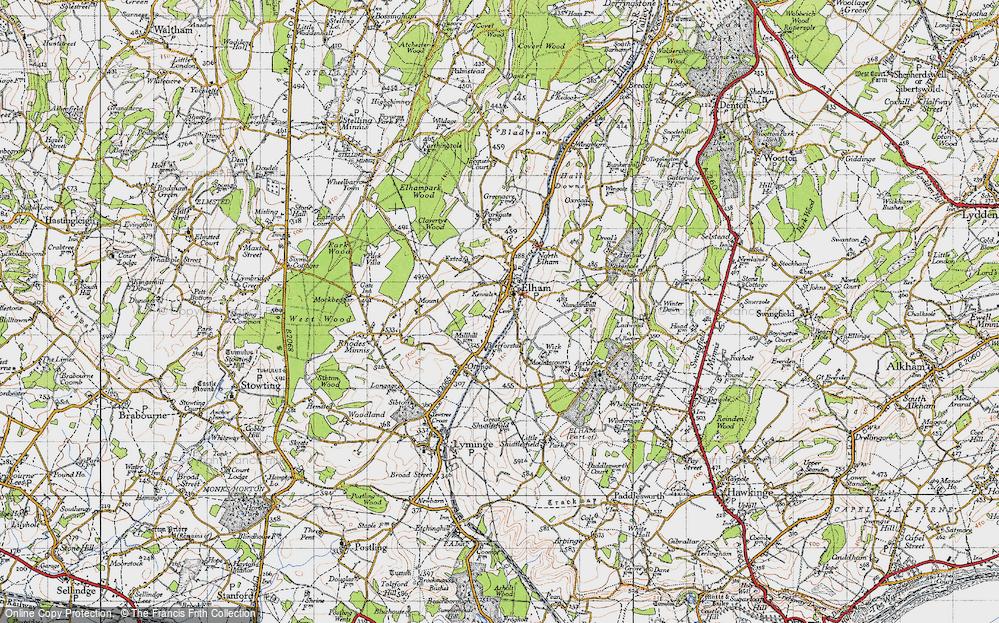 Old Map of Elham, 1947 in 1947