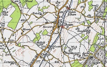 Old map of Elham in 1947
