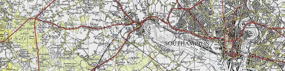 Old map of Tide Mill in 1945