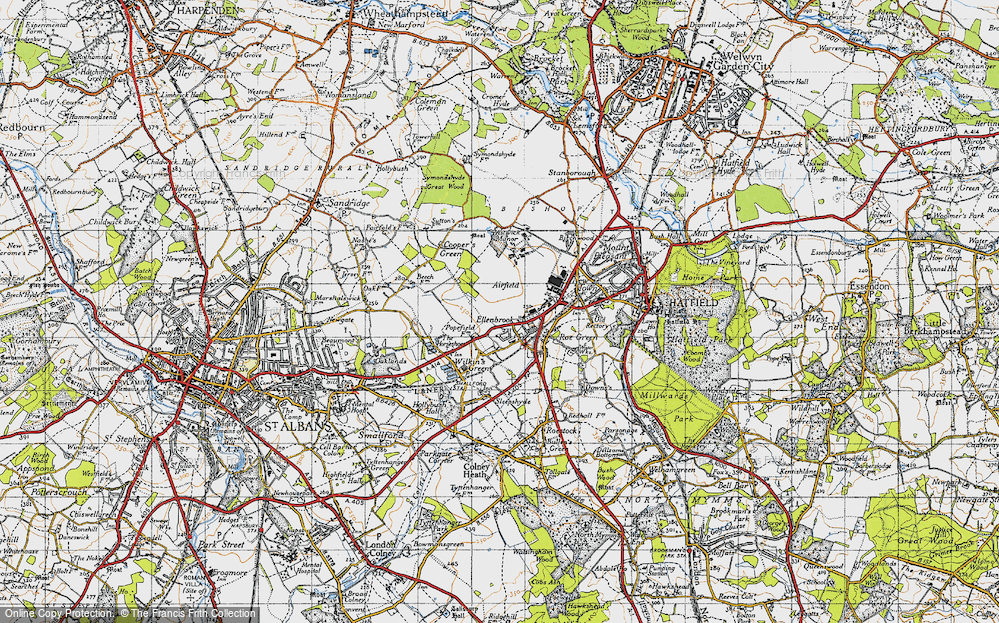 Old Map of Historic Map covering Astwick Manor in 1946