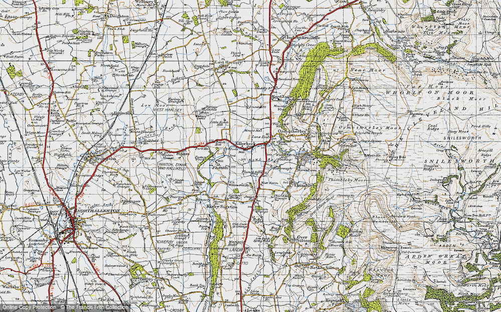 Old Map of Historic Map covering Lane End in 1947